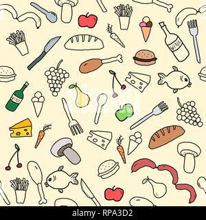 Modello senza cuciture con cibo e bevande icone e simboli. Sfondo di cucina scarabocchio. Foto Stock