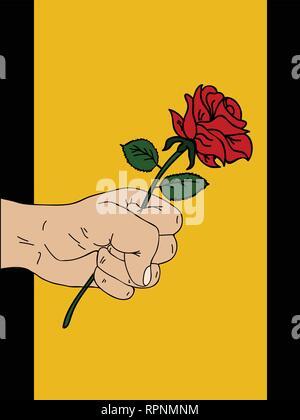 Mano Bozzetto Di Rosa Su Sfondo Nero Illustrazione Vettoriale