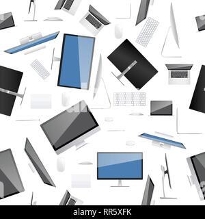 Raccolta di computer sul modello senza soluzione di continuità e consistenza dello sfondo. Foto Stock