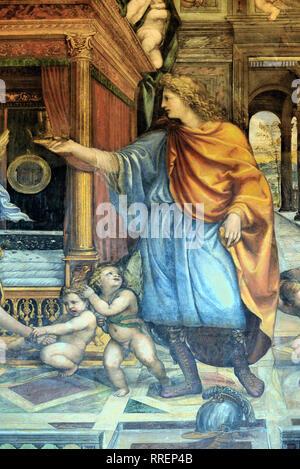 Alessandro il Grande dettaglio del matrimonio di Alessandro il Grande & Roxana affresco di Giovanni Antonio Bazzi (1519) Villa Farnesina Roma Italia Foto Stock