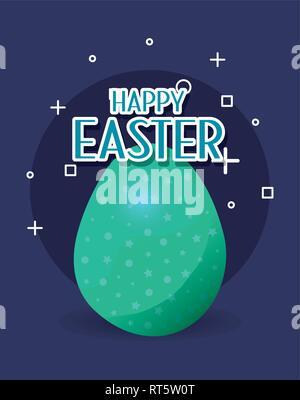 Uovo verde felice Pasqua card illustrazione vettoriale Foto Stock