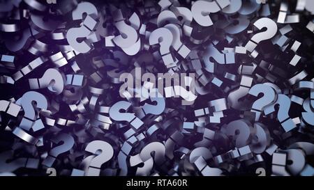 Metallo interrogativi in background. Alta risoluzione 3D render spazzolato scuro punto interrogativo vicino immagine in alto Foto Stock