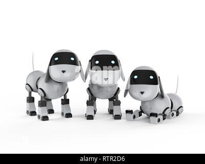 D rendering tre graziosi di intelligenza artificiale robot con