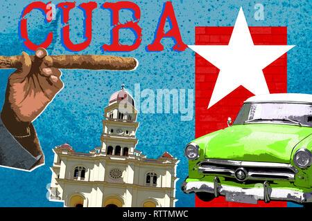 Viaggiare a Cuba, moderno stile pop art zine concetto della coltura. Foto Stock
