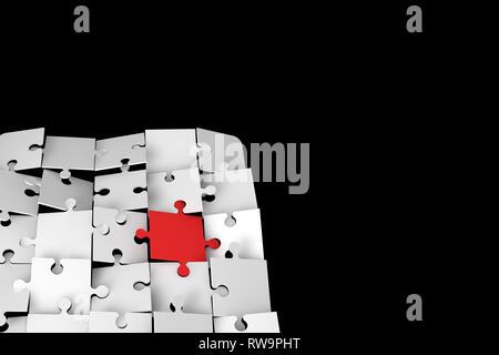 3d'illustrazione e rendering di levarsi in piedi fuori il concetto di differenza con puzzle pezzi su sfondo scuro.