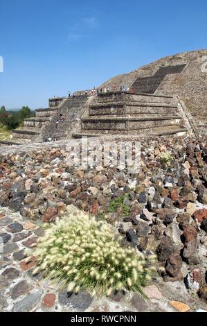 I turisti di salita e di discesa delle scale ripide sulla Piramide della Luna a Teotihuacan, Messico Foto Stock