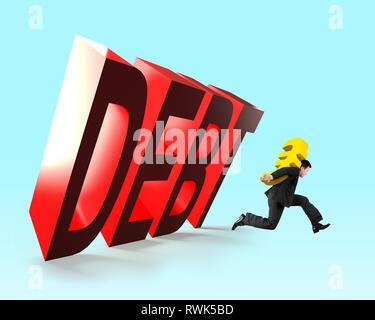 3D la caduta di parola di debito con uomo che corre portando golden simbolo Euro denaro, il debito finanziario concetto. Foto Stock