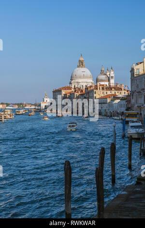 L'acqua taxi e vaporetti sul Canal Grande, Palazzo edifici, Santa Maria della Salute basilica, Dorsoduro, Venezia, Italia