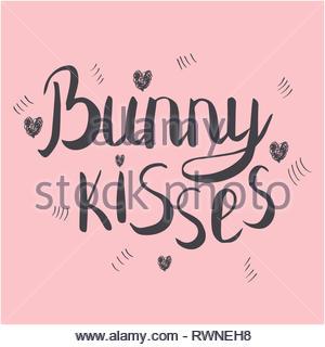 Bunny baci calligrafia manoscritta. Inchiostro nero sketch di scritte su sfondo rosa. T-shirt, poster disegno vettoriale. Illustrazione Vettoriale. Foto Stock