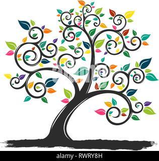 Illustrazione di un albero con foglie colorate Foto Stock