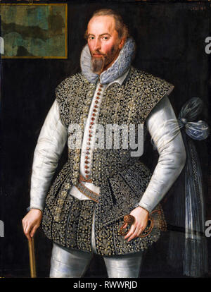 Sir Walter Raleigh (c. 1552-1618), ritratto dipinto, 1598, William Segar Foto Stock