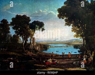 """Pittura intitolato """"Il Mulino di Claude Gellee. Claude Gellee (Claude Lorrain) (1600-1682) un pittore francese, disegnatore e incisore di epoca barocca. Foto Stock"""