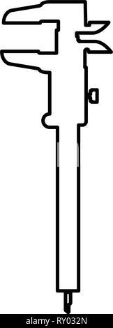 Mano a pinza pinza pinza scorrevole del calibro a corsoio calibro gage slitta gage Trammel icona colore nero profilo illustrazione vettoriale piatta immagine di stile Foto Stock