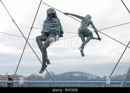 Ponte pedonale Kładka Ojca Bernatka, 31-061 Kraków, Polonia Foto Stock