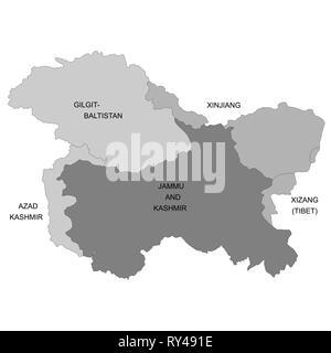 Cartina Muta Del Subcontinente Indiano.Mappa Del Kashmir E Una Regione Geografica Del Subcontinente Indiano Immagine E Vettoriale Alamy