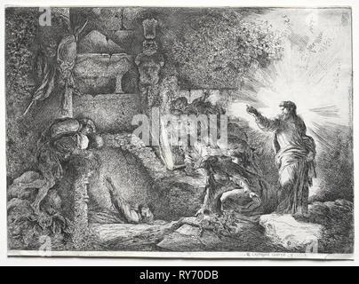 La risurrezione di Lazzaro. Giovanni Benedetto Castiglione (Italiano, 1609-1664). Attacco Foto Stock
