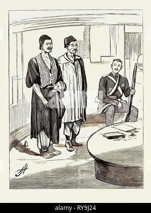 La guerra in Egitto: a bordo H.M.S. 'Seagull', i primi prigionieri introdotti dopo l'innesto a Chalouf, Augusto 20 Foto Stock