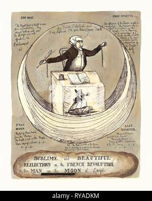 Sublime e belle riflessioni sulla rivoluzione francese, o l'uomo della luna a grandi, incisione 1790, Edmund Burke seduti ad una scrivania su una falce di luna, tenendo un tubetto penna, un pamphlet aperto e un Inkwell sono sulla scrivania, la rottura delle catene pendono dai suoi polsi, una scena sulla parte anteriore del banco, denominata Rivoluzione francese mostra una donna tenendo un Liberty Cap e una corona, in piedi su un uomo con una catena Foto Stock