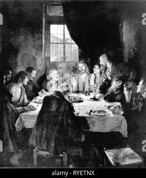 La religione, il cristianesimo, Gesù Cristo, ultima cena, 'Dcome Abendmahl' (Ultima Cena), dipinto da Fritz von Uhde (1848 - 1911), 1898, l'artista del diritto d'autore non deve essere cancellata Foto Stock
