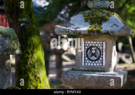 Primo piano di una bella pietra lanterna nel Tamukeyama Hachimangu tempio di Nara, Giappone in una giornata di sole