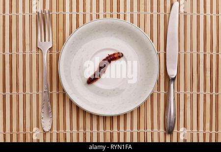 Falena di capra (Cossus cossus) caterpillar sulla piastra, food concept Foto Stock