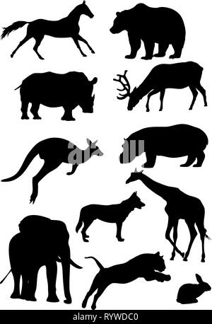 La figura mostra gli animali, alcune specie di mammiferi selvatici. Illustrazione eseguita nello stile di disegno del contorno, isolato su sfondo bianco Foto Stock