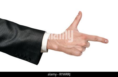 Maschio in mano business suit facendo una ripresa a mano gesto isolato su sfondo bianco Foto Stock