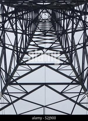 Guardando in alto, da sotto un traliccio di elettricità