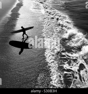 Surfista maschio passeggiate fino alla spiaggia dopo la navigazione. Manhattan Beach, California, Stati Uniti d'America.
