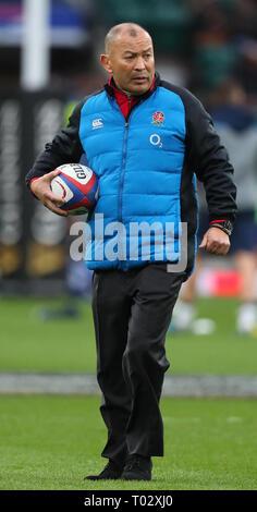Londra, Regno Unito. 16 Mar, 2019. Eddie Jones durante il Guinness Sei Nazioni match tra Inghilterra e Scozia a Twickenham Stadium. Credito: Lo sport europeo Agenzia fotografica/Alamy Live News Foto Stock