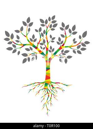 Albero colorato con radici Foto Stock