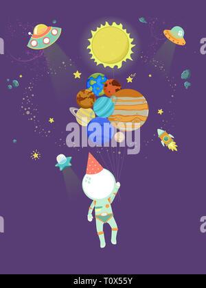 Illustrazione di un ragazzo che indossa il Costume astronauta Holding pianeta palloncini galleggianti in uno spazio esterno Foto Stock