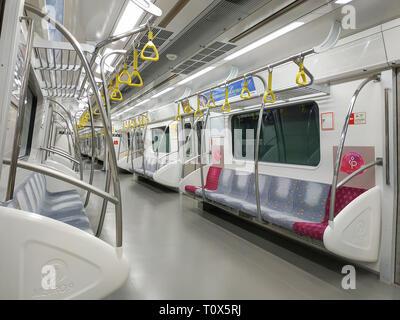 Seoul, Corea del Sud - 22 Marzo 2019: all'interno del treno alla metropolitana Seoul Metro Linea 9