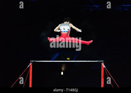 Birmingham, Regno Unito. Il 23 marzo 2019. Kazuma Kaya (JPN), eseguire durante gli uomini la sessione del 2019 Gymnastics World Cup a Genting Arena/Resort World Arena, Birmingham, UK sabato 23 marzo 2019.