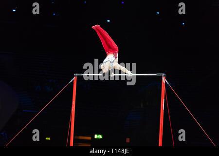 Birmingham, Regno Unito. Il 23 marzo 2019. Kazuma Kaya (JPN), eseguire durante gli uomini la sessione del 2019 Gymnastics World Cup a Genting Arena/Resort World Arena, Birmingham, UK sabato 23 marzo 2019. Foto Stock