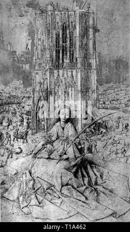 La religione, il cristianesimo, saint, Santa Barbara, disegno di Jan van Eyck (circa 1390 - 1441), 1437, rovere, 41,4 x 27,8 cm, il Museo Reale di Belle Arti di Anversa, Additional-Rights-Clearance-Info-Not-Available Foto Stock