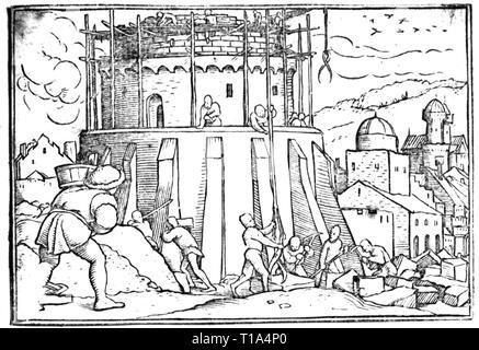 La religione, scena biblica, Torre di Babele, disegno di Hans Holbein il Giovane (1497 / 1498 - 1543), XVI secolo, artista del diritto d'autore non deve essere cancellata Foto Stock