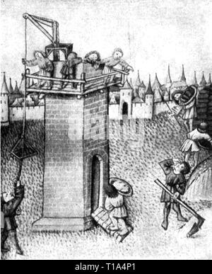 La religione, scena biblica, Torre di Babele, miniatura, Furtmeyr la Bibbia, Regensburg, 1470, artista del diritto d'autore non deve essere cancellata Foto Stock