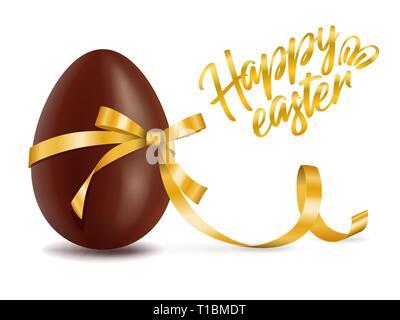 Felice Pasqua card, uovo di cioccolato con nastro giallo decor, cartolina con dessert tradizionale, gustoso dono, vettore Foto Stock