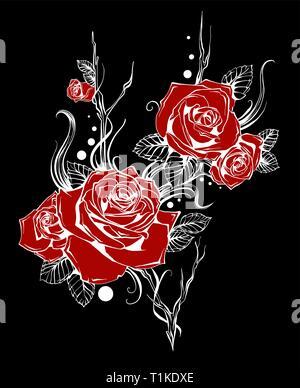 Bel bouquet di rose rosse e foglie. Composizioni floreali. design della scheda Messaggi di saluto e invito di nozze, il compleanno, il giorno di San Valentino Foto Stock
