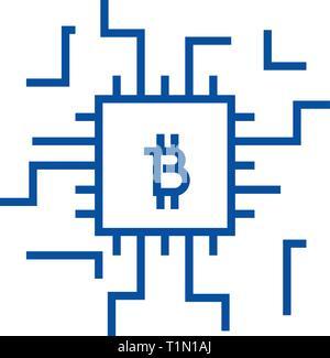 Concetto di Fintech icona linea concept. Concetto di Fintech piatto simbolo del vettore, segno, illustrazione di contorno. Foto Stock