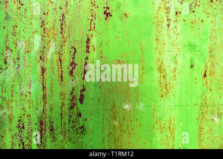 Dettaglio del dipinto di verde, vecchio, le porte di metallo. Grunge texture di metallo arrugginito con graffi Foto Stock
