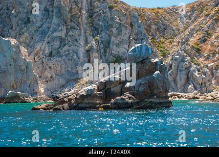 Il Pellicano distintivo Rock vicino alla marina di Cabo San Lucas, Messico Foto Stock