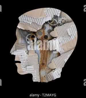 Depressione, stress, Sindrome di burnout concetto. Stilizzata testa maschio silhouette .Foto montage con cartone sottoposto a RIP e l'ingranaggio. Foto Stock
