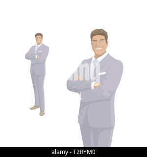 2c55e365aac8 Imprenditore elegante in grigio costume. Il Boss, imprenditore. Sorriso.  Persone di carattere