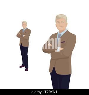 5ed28ee26246 Imprenditore elegante in costume. Il Boss, imprenditore. Uomo più anziano.  Sorriso.
