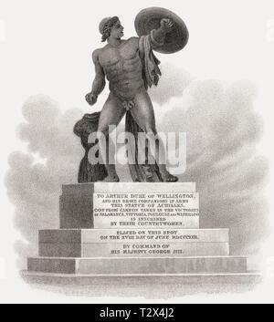 Statua di Achille, Hyde Park Corner, Londra, Regno Unito, illustrazione di Th. H. Pastore, 1826 Foto Stock