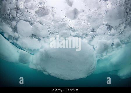 Blocchi di ghiaccio subacquea, Spitsbergen, Oceano Artico, Norvegia Foto Stock