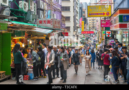 Sul mercato Gage Street nel quartiere centrale, Isola di Hong Kong, Hong Kong, Cina Foto Stock