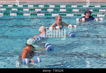 2926b94bc2c0 ... Le donne anziane & man frequentando aerobica, acqua gym, lavorando con ' acqua manubri